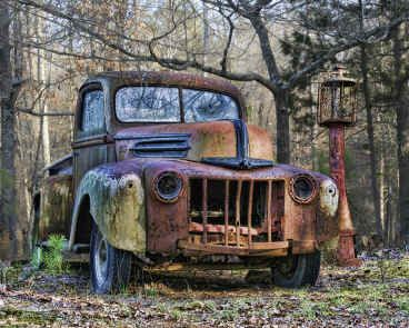 old truck and old gas pump
