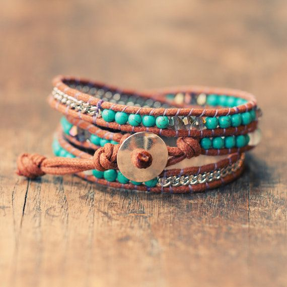 Bohemian Wrap Bracelet - Turquoise - Bohemian Jewelry.