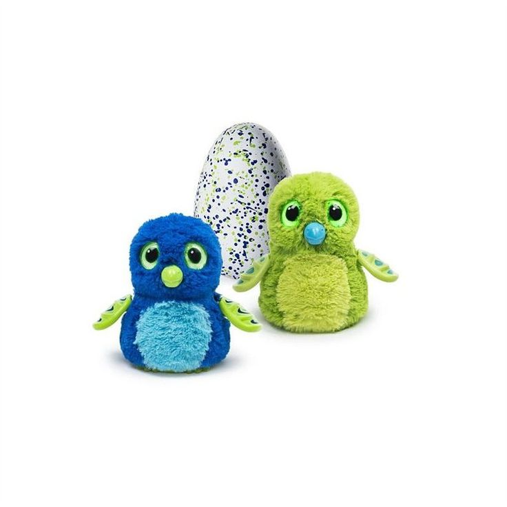 Knock, knock, knock. Who's there? It's a big surprise! Nurture your Hatchimals Draggles Egg in Green, and watch as it grows up. As you toss and tap on the egg, glowing eyes will peer out at you and the Hatchimal inside will make cute sounds to let you know how its feeling. After playing with the egg long enough, you'll see rainbow eyes, meaning it's time for your Hatchimal to hatch. Keep touching the egg and your new furry friend will really peck its way through the shell! Now, it's your…