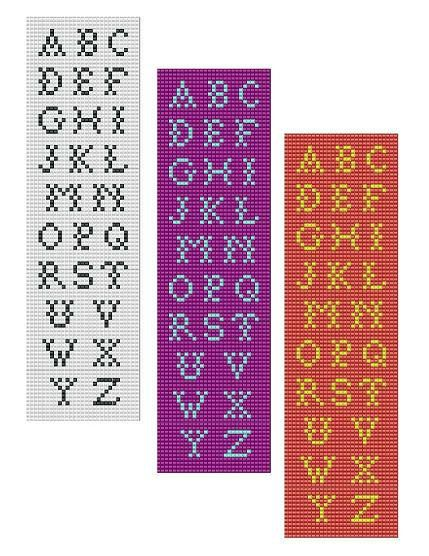 For sale is Bead Loom Alphabet Font 3 All Letters Bracelet Pattern Chart in PDF format. This alphabet includes 3 designs shown on the listing