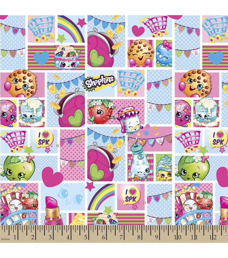 Shopkins Cotton Fabric-Patch Party Cartoon