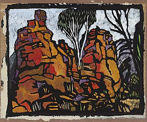 Margaret Preston 'Rocks in Roper River Valley N.T.' 1953 colour stencil Collection of the National Gallery of Australia © Margaret Preston. Licensed by VISCOPY, Australia