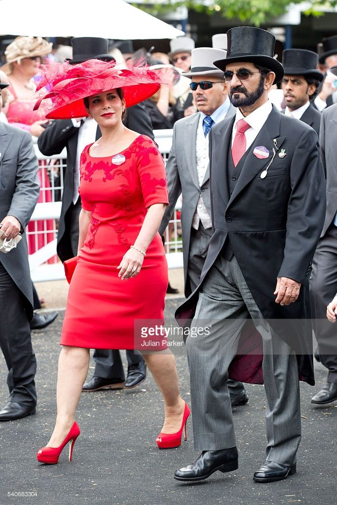 Sheikh Mohammed Bin Rashid Al Maktoum, and Princess Haya bint Al Hussein , attend day 3 of Royal Ascot at Ascot Racecourse on June 16, 2016 in Ascot, England. (Photo by Julian Parker/UK Press via Getty Images)