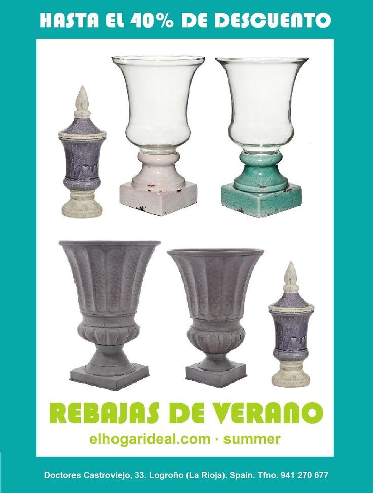 Decoracion online, el hogar ideal, rebajas 42, vasos de cristal clasicos, vasijas y jarrones, jarron turquesa. elhogarideal.com