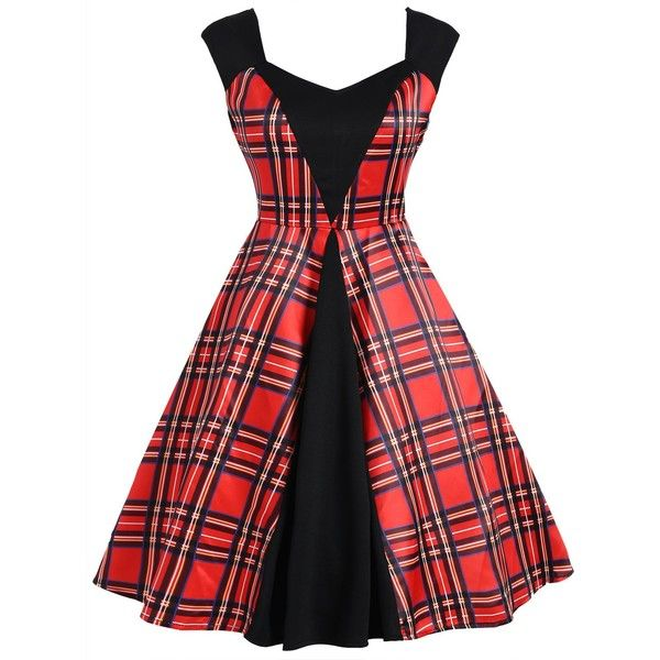 Plaid Panel Vintage Sleeveless Dress ($17) ❤ liked on Polyvore featuring dresses