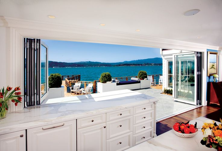 sliding, fold-back doors that open the space to the amazing outdoors