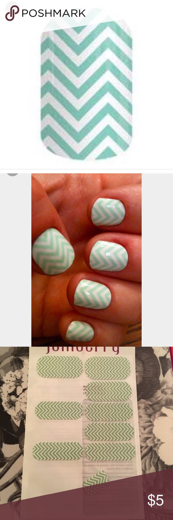 Jamberry mint chevron partial sheet Used for a couple manicures, still has use for pedicure and samples. Jamberry Makeup