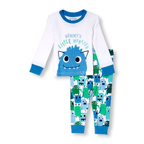 Baby And Toddler Boys Long Sleeve 'Mommy's Little Monster' Graphic Top And Monster Printed Pants PJ Set