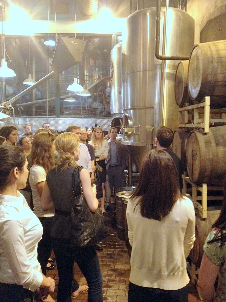 brick floors, metal silos, wooden barrels, lamps, pipes, mirror? - Chicago brewery