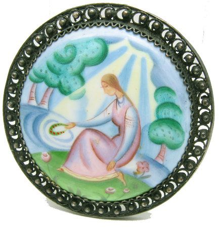 Pensive maiden seated by the banks of a river brooch displays fine quality Finift painting on enamel available at The Russian Gift Shop in Lisle IL