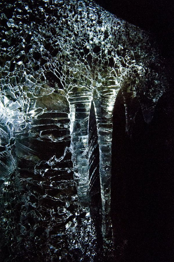 More intricate detail in the ice formations - Guler Ice Caves in Gifford Pinchot National Forest, Washington