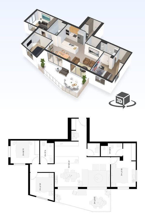 2 Bedroom Apartment Floor Plan In Interactive 3d Get Your Own 3d Model Today At Http Planto3d C Floor Plans 2 Bedroom Apartment Floor Plan Condo Floor Plans