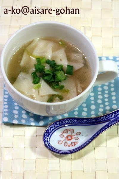 大絶賛のワンタンスープ」具は餃子の皮とネギだけでOK! by ATSUKO ...