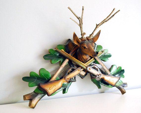 Vintage Hunter Cuckoo Clock Fragment Carved Wood by CalloohCallay