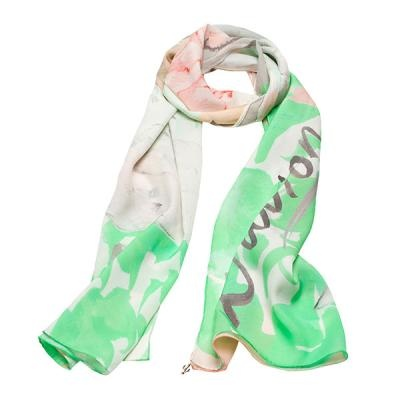 """L'avion The Lapin Scarf. Illustrated by Kelly Smith for L'avion - Jardin Collection. """"Our Lapin scarf is an escape to the garden full of peonies and bunnies, it's a whimsical world of peach tones and grassy greens."""""""