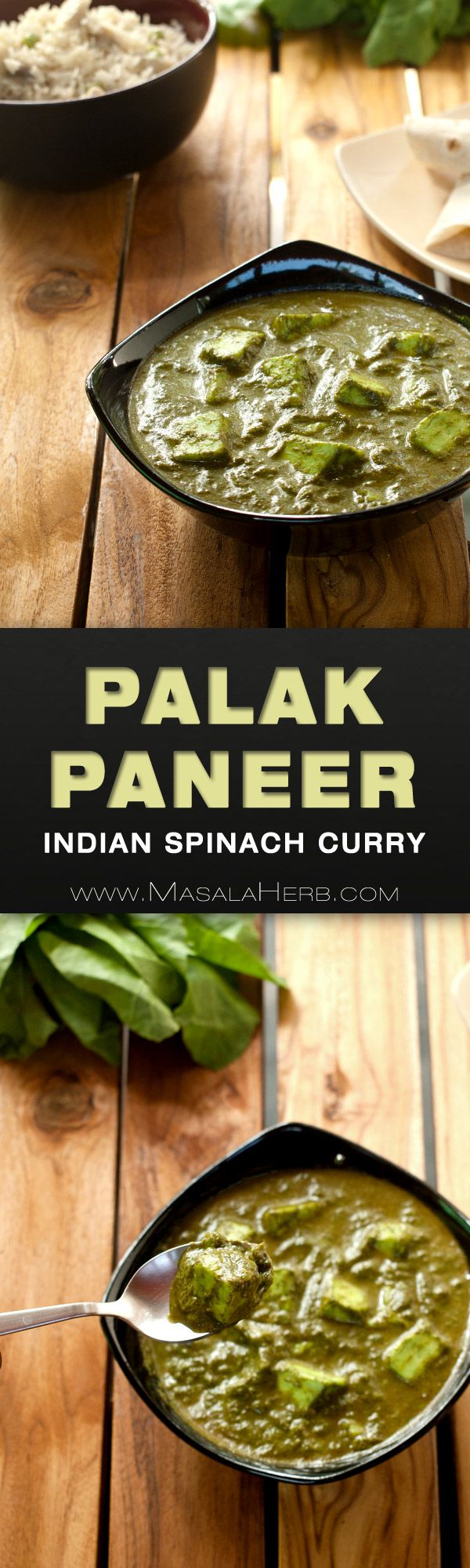 Palak Paneer Recipe - How to make Nutritious Indian Spinach Curry [Vegetarian] with indian cottage cheese. A creamy velvety green curry stuffed with proteins and gorgeous spices. You can make this palak paneer recipe easily at home with the how to and step by step instructions. www.MasalaHerb.com #curry #indian #healthy #masalaherb