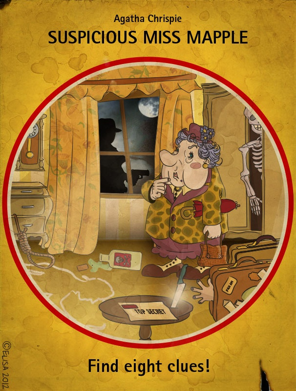 #Illustrazione. Omaggio ai vecchi #Gialli Mondadori e Agatha #Christie. (Photoshop & Illustrator). Tribute to a famous #detective stories series. (Photoshop & Illustrator).