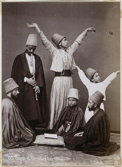::::♡م ♡ ✿⊱╮☼ ☾ PINTEREST.COM christiancross ☀❤•♥•* ✨♀✨ :::: Whirling Dervishes Group, 1870. Photographed by Sheba Pascal +++ DANCING SUFIS