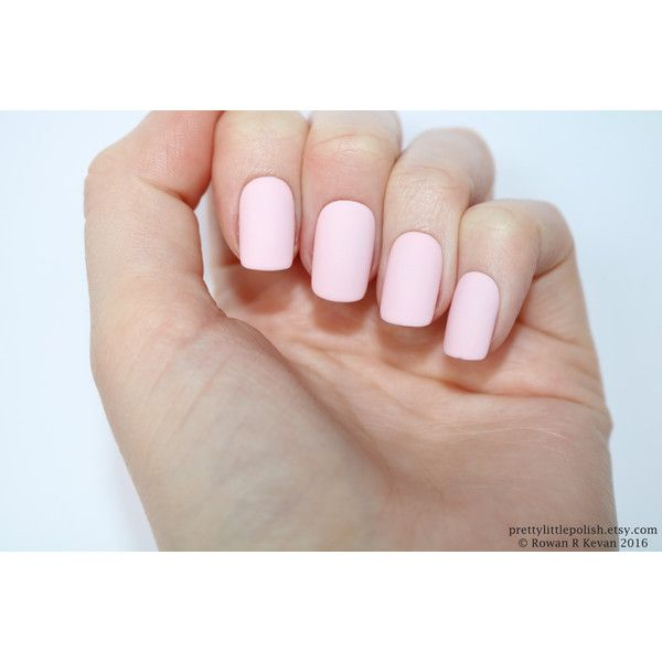 Matte pastel pink short square nails, Nail designs, Nail art, Nails,... (€16) ❤ liked on Polyvore featuring beauty products, nail care, nail treatments and nails