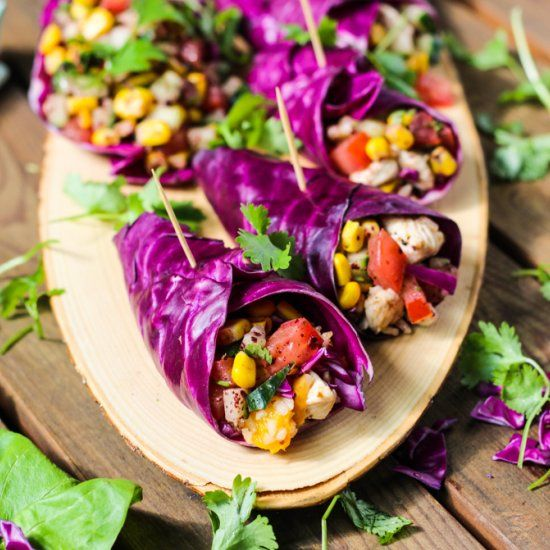 Tasty, fresh, colorful, funky & super healthy recipe! » Red Cabbage Wraps » dishtales.com