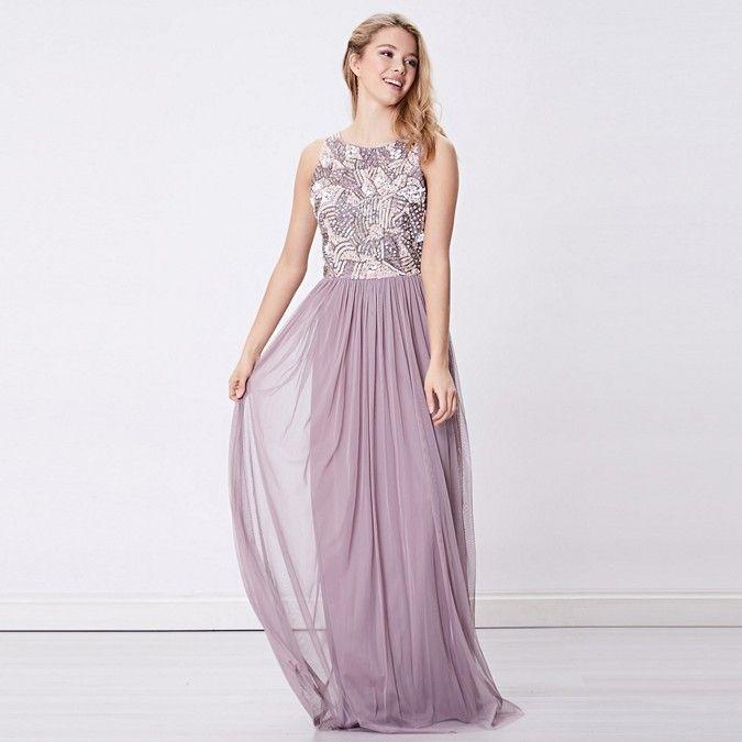 ANGELEYE Light Purple Embellished Sleeveless Maxi Bridesmaid Dress | Debenhams
