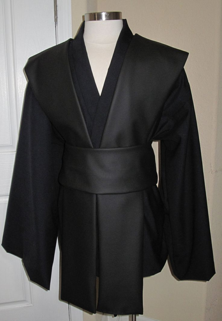Jedi Sith midning blue tunic and black pleather tabards  with sash 4 piece costume by EvaVanecek on Etsy https://www.etsy.com/listing/178739173/jedi-sith-midning-blue-tunic-and-black