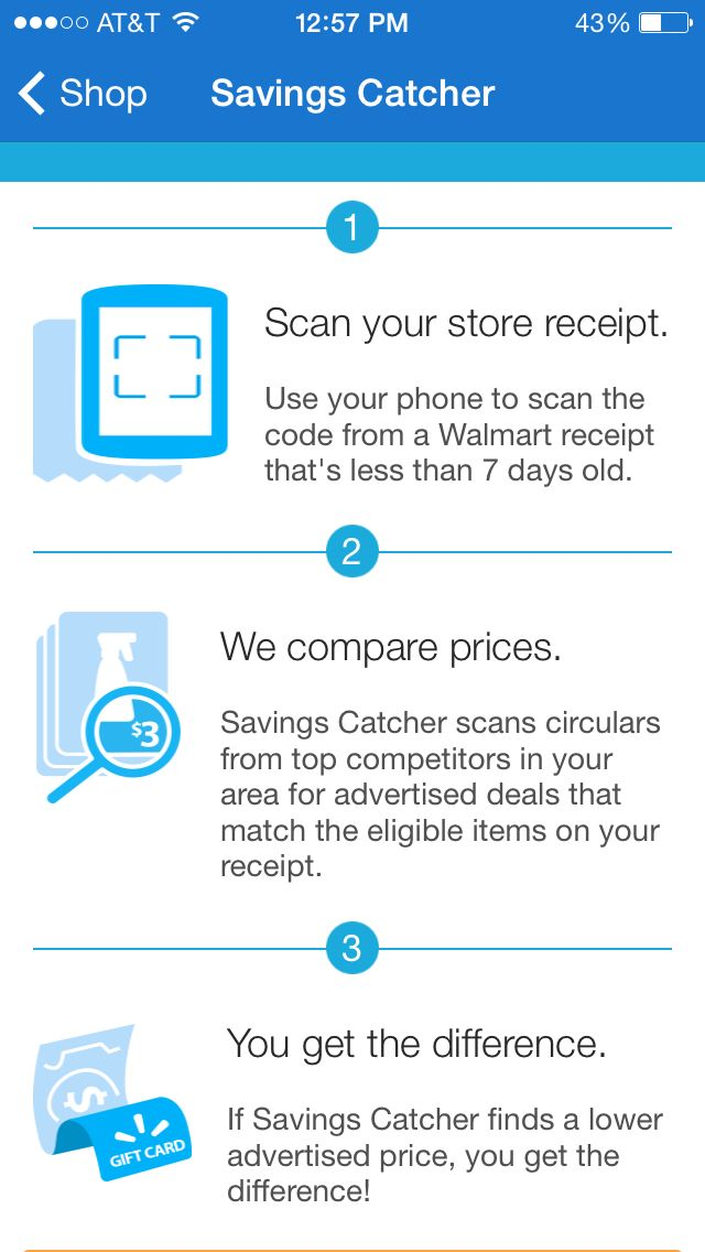 Download the Walmart app and get the Savings Catcher