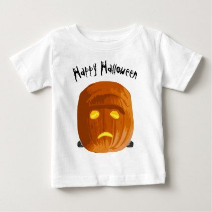 #Happy Halloween Frankenstein Pumpkin Baby T-Shirt - #Halloween #happyhalloween #festival #party #holiday
