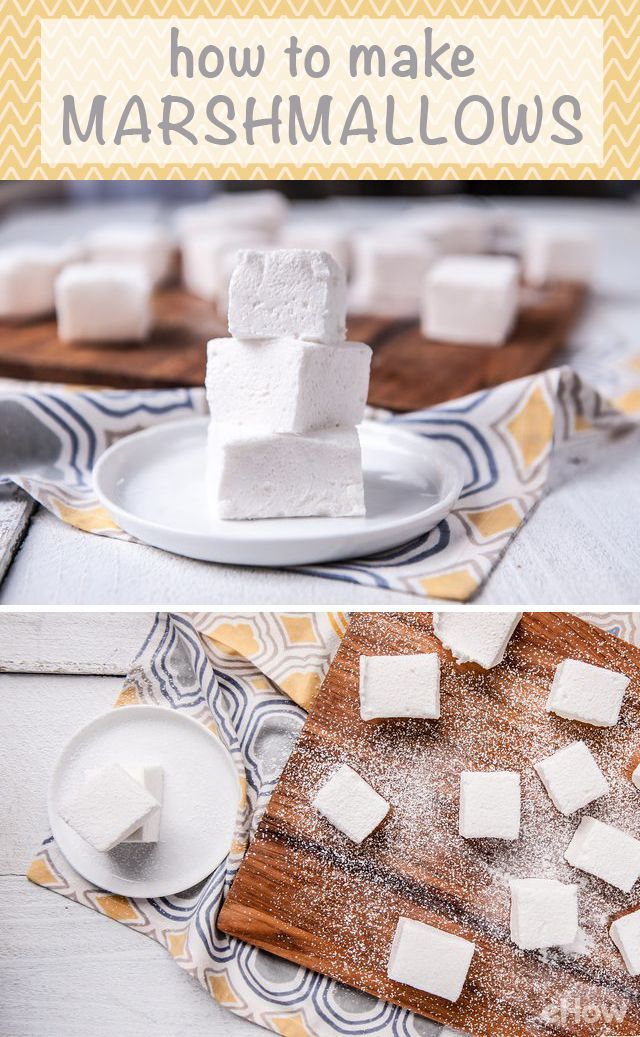 Making marshmallows may seem hard, but it's actually really easy! You need powdered sugar, gelatin, sugar, corn syrup, egg whites and vanilla extract. Recipe and how-to here: http://www.ehow.com/how_2084473_make-marshmallows.html?utm_source=pinterest.com&utm_medium=referral&utm_content=freestyle&utm_campaign=fanpage