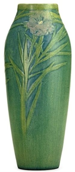 pottery & porcelain, Louisiana, A Newcomb College [pottery] Sadie Irvine (1887 to 1970), transitional vase with flowers, New Orleans, LA, 19...
