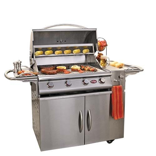 This innovative mobile grill cart features two side serving trays, a spice #rack, bottle opener, #towel and paper towel holders, and storage beneath for a propane tank and more.  #Tuffhut #grill