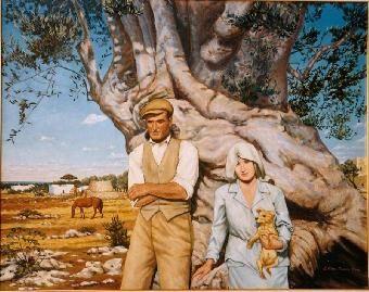 """""""Radici"""" di Ettore Mangia, olio su tela, cm 80 x 100. Opera premiata """"Coppa Alessandro Manzoni"""" - 40° Concorso Internazionale di Pittura Estemporanea """"Contea di Bormio"""". Creata dall'artista Ettore Mangia."""