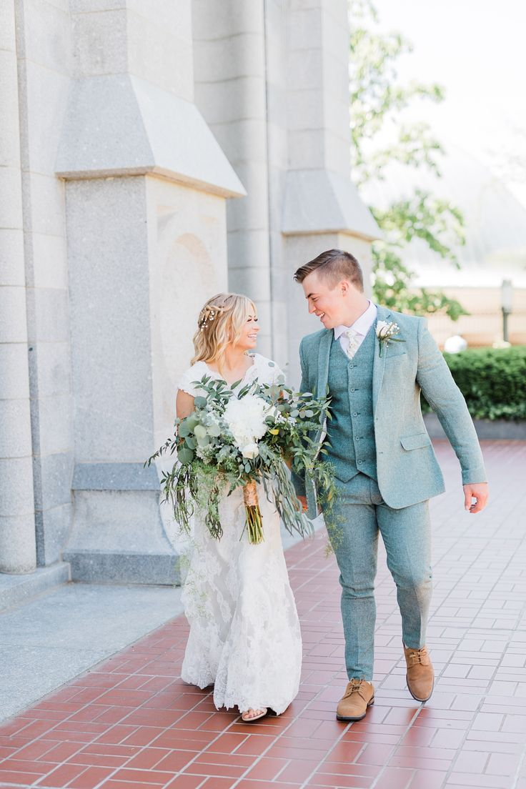 Salt Lake Temple Spring Wedding with Beautiful, Lush Florals