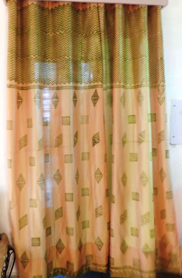 Green and Gold Silk Curtains