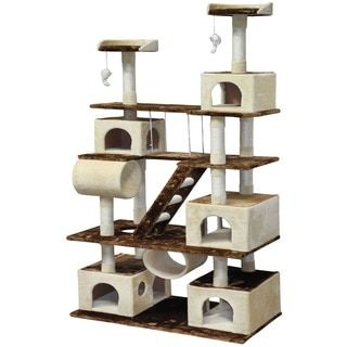 Give your feline friend the perfect play place with this 62-inch cat tree. Complete with multiple tiers that include plenty of areas to scratch, play, and rest, this sturdy multilevel cat tree is craf