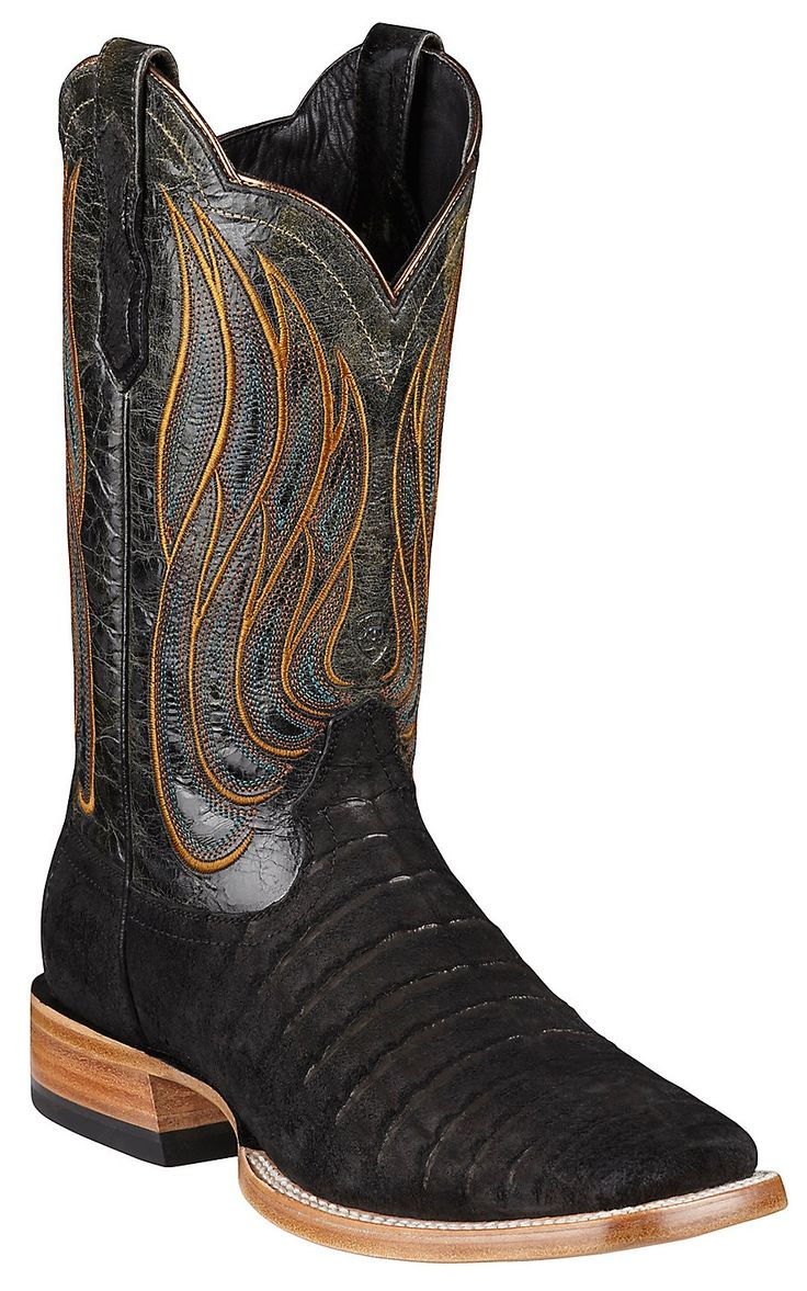 Ariat® Nitro™ Mens Roughout Black Caiman Belly Double Welt Square Toe Cowboy Boot