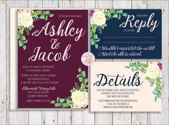 The Ashley Collection would be a perfect way to share the news to complement the rich dark tones of wine, marsala, navy and cream. Note, we can substitute gold foil fonts for $2 more.  ► Please read the instructions below before purchasing the product ◄ ----------------------------------------------------- BUILD YOUR OWN: ----------------------------------------------------- You can select how many pieces you would like to include in your suite. Choose from:  Whole Set includes these cards…