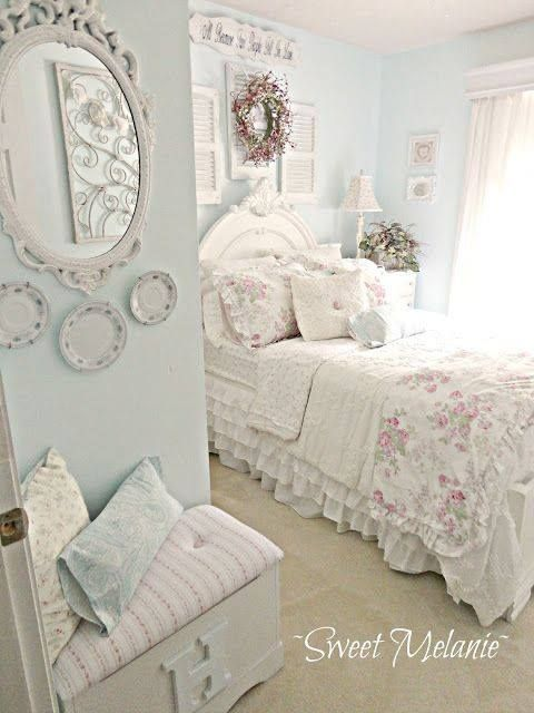 shabby bedroom - love this wall color for my room
