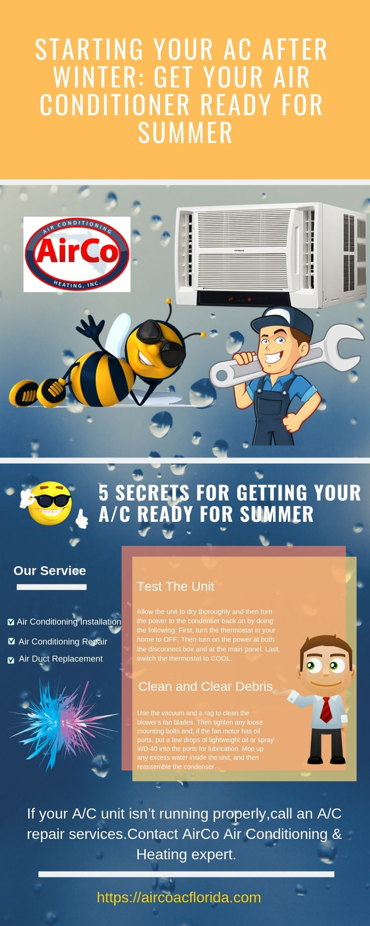 If your A/C unit isn't running properly,call an A/C repair