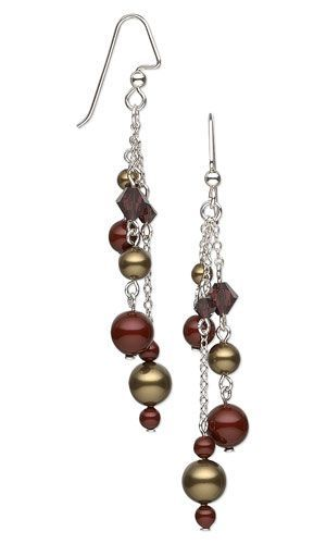 Earrings with Swarovski Crystal Beads and Pearls and Sterling Silver Chain