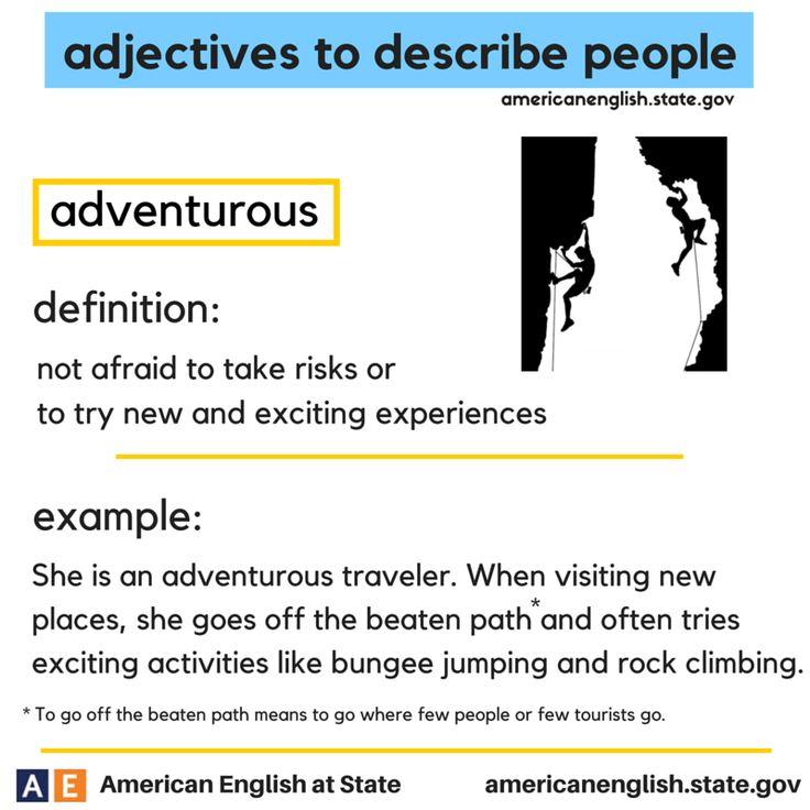 adjectives to describe people: adventurous