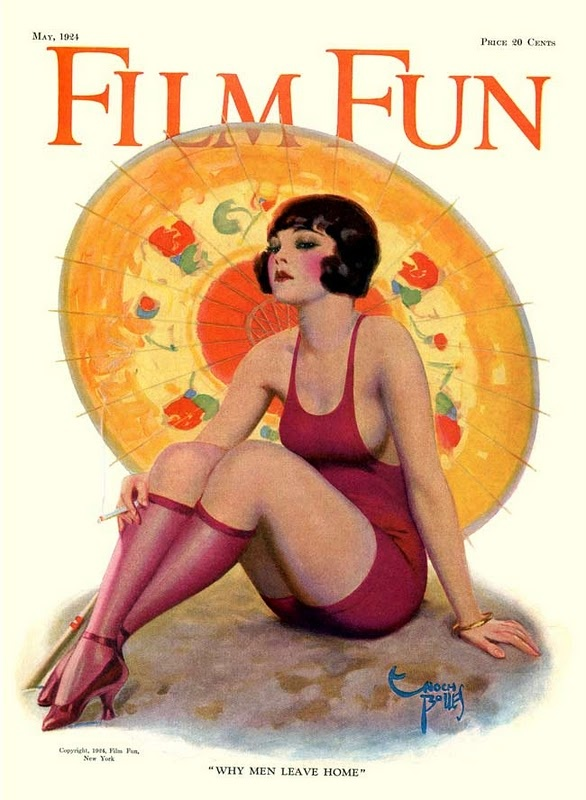 There is something so delightfully lovely (though albeit perhaps not that practical) about this notion of wearing stockings to the beach like this elegant 1920s young woman. #bathing_suit #1920s #twenties #summer #magazine #Film_Fun #parasol #beach #woman