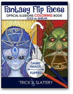 Fantasy Flip Faces - Optical Illusions Coloring Book (Elves vs. Goblins) by 'Trick Slattery  http://tricksplace.com/fantasy-flip-faces-coloring-book/  #coloring #coloring #coloringbook #coloringbook #adultcoloring #adultcolouring #opticalillusions #coloringforadults