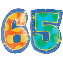 65 Number Balloons - Helium Filled