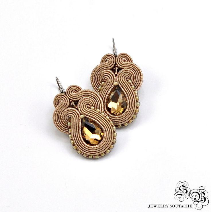 Ellegant Gold Beige Earrings, Soutache Earrings, Handmade Earrings, Gold…