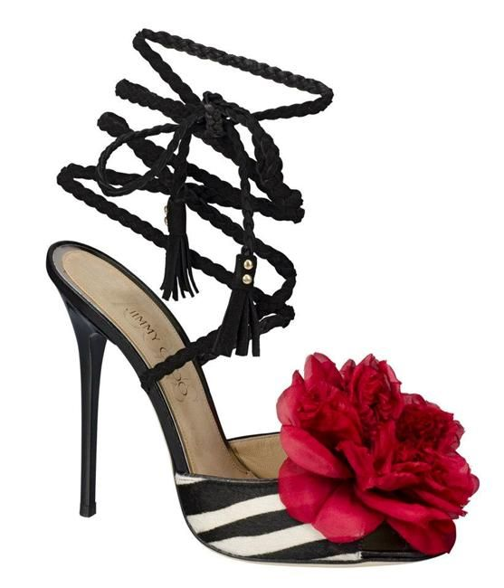 Jimmy Choo Zebra Print Heels with Red Flower Accent