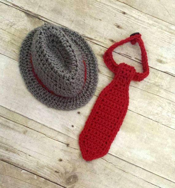 Crochet Baby Fedora Hat and Tie Set