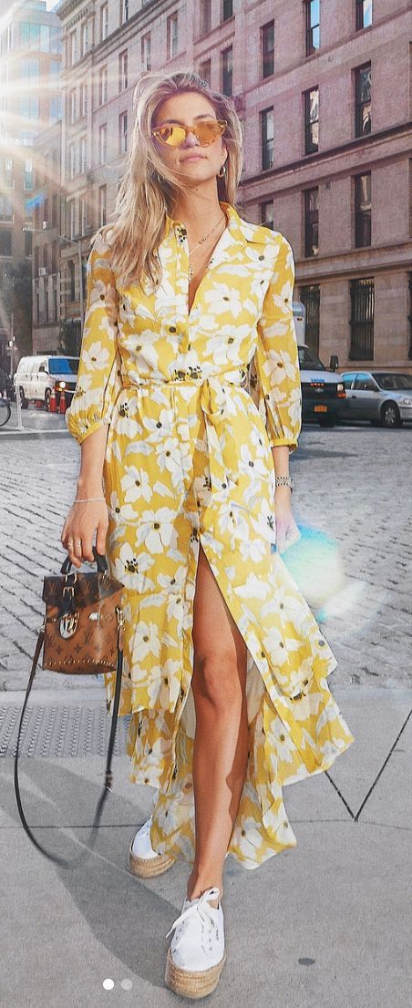daee610f39f6 Yellow Floral Maxi Dress - Louis Vuitton Reverse Monogram Camera Box Bag -  Platform Espadrille Sneakers - Yellow Sunnies - Summer Style - Summer  Outfit ...