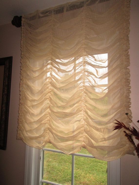 Austrian balloon shade curtain stationary in cream sheer for Roman shades that hang from a curtain rod