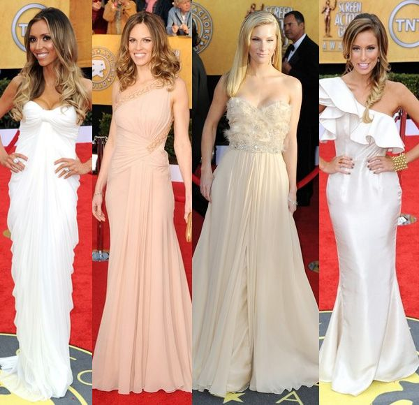 Screen actors guild awards 2011 red carpet action - Giuliana Rancic in  white Ema Savahl gown, Hilary Swank in nude Versace, Heather Morris Romona Keveza, Renee Bargh in Rachel Gilbert at the SAG awards